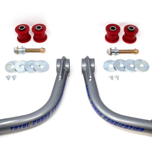 """Kit Includes: Upper Control Arms, Urethane Bushings, Inner Sleeves, Tapered Spindle Adapters, 1"""" Uniballs, Upper & Lower Hi-Misalignment Spacers, Zinc Plated End Washers,  Grade 8 Mounting Hardware"""
